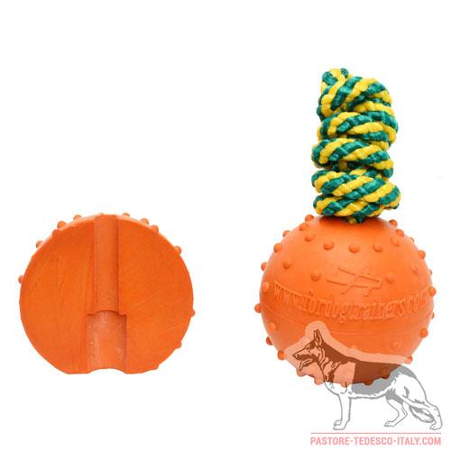 Palla di gomma con corda, diametro 7 cm con Pastore tedesco